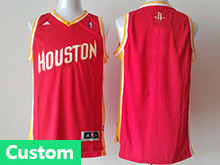 Nba Houston Rockets (custom Made) Red (gold Number) Revolution 30 Jersey (p)