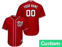 Mens Womens Youth Mlb Washington Nationals (custom Made) Red Cool Base Jersey
