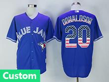 Mens Majestic Toronto Blue Jays (custom Made) Blue Usa Flag Jersey