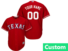 Mens Womens Youth Mlb Texas Rangers (custom Made) Red Cool Base Jersey