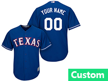 Mens Womens Youth Mlb Texas Rangers (custom Made) Blue Cool Base Jersey