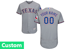Mens Majestic Mlb Texas Rangers (custom Made) Gray Flex Base Jersey