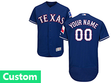Mens Majestic Mlb Texas Rangers (custom Made) Blue Flex Base Jersey