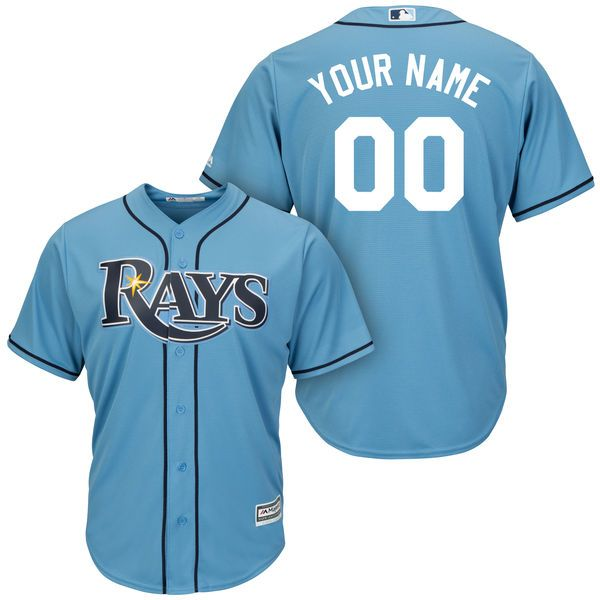 Mens Womens Youth Mlb Tampa Bay Rays (custom Made) Light Blue Cool Base Jersey