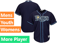 Mens Womens Youth Majestic Tampa Bay Rays Navy Cool Base Jersey