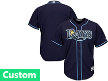 Mens Womens Youth Mlb Tampa Bay Rays (custom Made) Dark Blue Cool Base Jersey