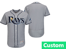 Mens Mlb Tampa Bay Rays (custom Made) Gray Flex Base Jersey