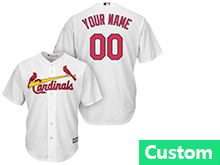 Mens Womens Youth Mlb St.louis Cardinals Custom Made White Cool Base Jersey
