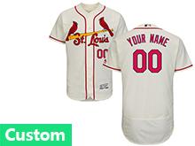 Mens Mlb St.louis Cardinals Custom Made Cream Flex Base Jersey