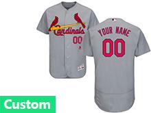Mens Mlb St.louis Cardinals Custom Made Gray Flex Base Jersey
