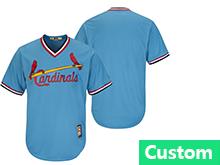 Mens Mlb St. Louis Cardinals Custom Made Blue Pullover Throwbacks Jersey