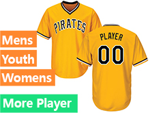 Mens Womens Youth Majestic Pittsburgh Pirates Gold Cool Base Jersey