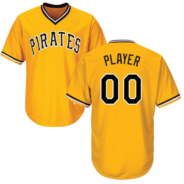 Mens Womens Youth Mlb Pittsburgh Pirates (custom Made) Gold Cool Base Jersey