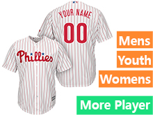 Mens Womens Youth Majestic Philadelphia Phillies White Stripe Cool Base Jersey