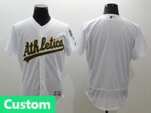 Mens Majestic Oakland Athletics (custom Made) White Flex Base Jersey