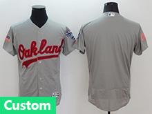 Mens Majestic Oakland Athletics Custom Made Gray Fashion Stars Stripes Flex Base Jersey
