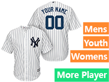 Mens Womens Youth Majestic New York Yankees White Stripe Cool Base Jersey