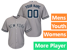 Mens Womens Youth Majestic New York Yankees Gray Cool Base Jersey