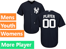 Mens Womens Youth Majestic New York Yankees Navy Blue Cool Base Jersey