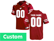 Mens Women Youth Ncaa Nfl Wisconsin Badgers Under Armour Custom Made Red Game Jersey