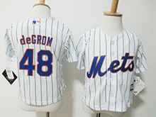 Kids Majestic Mlb New York Mets #48 Degrom White Stripe Jersey