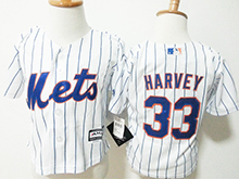 Kids Majestic Mlb New York Mets #33 Matt Harvey White Stripe Jersey