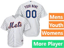 Mens Womens Youth Majestic New York Mets White Stripe Cool Base Jersey