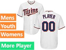 Mens Womens Youth Majestic Minnesota Twins White Cool Base Jersey