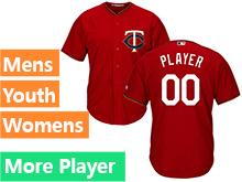 Mens Womens Youth Majestic Minnesota Twins Red Cool Base Jersey