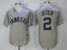Mens Mlb New York Yankees #2 Derek Jeter Gray Throwbacks Cool Base Jersey