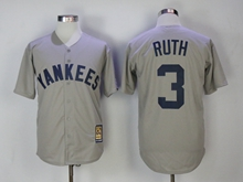 Mens Mlb New York Yankees #3 Babe Ruth Gray Throwbacks Cool Base Jersey