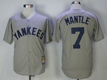 Mens Mlb New York Yankees #7 Mickey Mantle Gray Throwbacks Cool Base Jersey