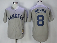 Mens Mlb New York Yankees #8 Yogi Berra Gray Throwbacks Cool Base Jersey