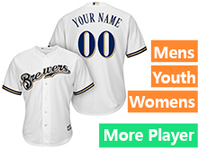 Mens Womens Youth Majestic Milwaukee Brewers White Cool Base Jersey