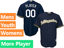 Mens Womens Youth Majestic Milwaukee Brewers Navy Blue Cool Base Jersey