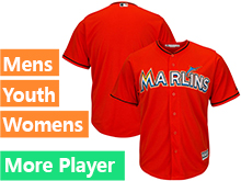 Mens Womens Youth Majestic Miami Marlins Orange Cool Base Jersey