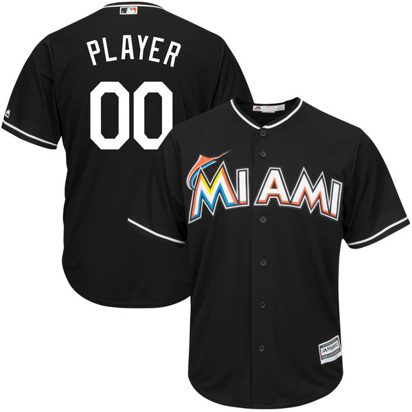 Mens Womens Youth Mlb Miami Marlins Custom Made Black Cool Base Jersey