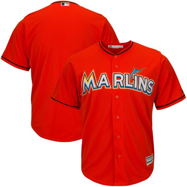 Mens Womens Youth Mlb Miami Marlins Custom Made Orange Cool Base Jersey