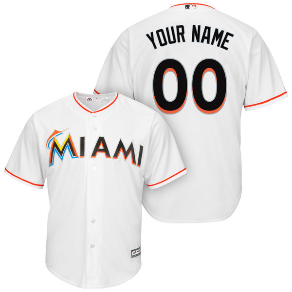 Mens Womens Youth Mlb Miami Marlins Custom Made White Cool Base Jersey