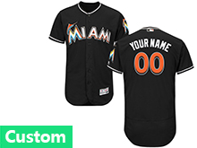 Mens Mlb Miami Marlins Custom Made Black Flex Base Jersey