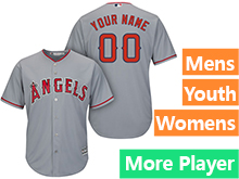 Mens Womens Youth Majestic Los Angeles Angels Gray Cool Base Jersey