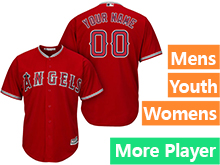 Mens Womens Youth Majestic Los Angeles Angels Red Cool Base Jersey