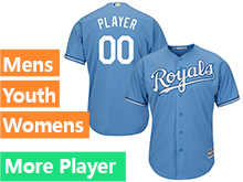 Mens Womens Youth Majestic Kansas City Royals Light Blue Cool Base Jersey