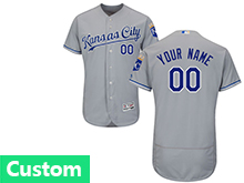 Mens Mlb Kansas City Royals Custom Made Gray Flex Base Jersey