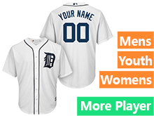 Mens Womens Youth Majestic Detroit Tigers White Cool Base Jersey