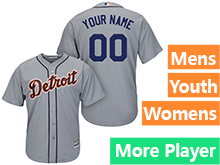 Mens Womens Youth Majestic Detroit Tigers Gray Cool Base Jersey