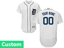 Mens Majestic Detroit Tigers (custom Made) White Flex Base Jersey
