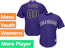 Mens Womens Youth Majestic Colorado Rockies Purple Cool Base Jersey