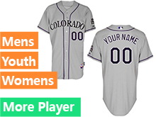 Mens Womens Youth Majestic Colorado Rockies Gray Cool Base Jersey