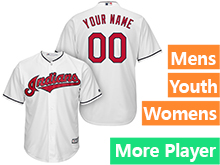 Mens Womens Youth Majestic Cleveland Indians White Cool Base Jersey